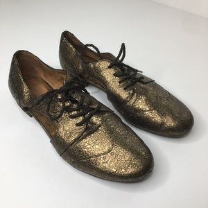 Naya Bronze Leather Metallic Oxford Shoes Size 9.5